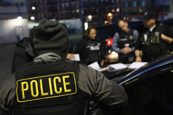 U.S. Immigration and Customs Enforcement, officers prepare for morning raids to arrest undocumented immigrants in 2018 in New York City.