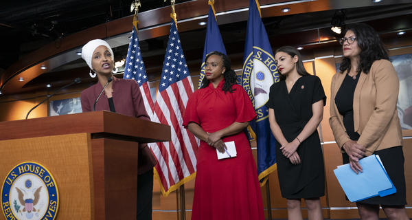 Democratic Reps. Ilhan Omar of Minnesota (from left), Ayanna Pressley of Massachusetts, Alexandria Ocasio-Cortez of New York and Rashida Tlaib of Michigan respond to racist remarks directed at them by President Trump at a news conference on Monday.
