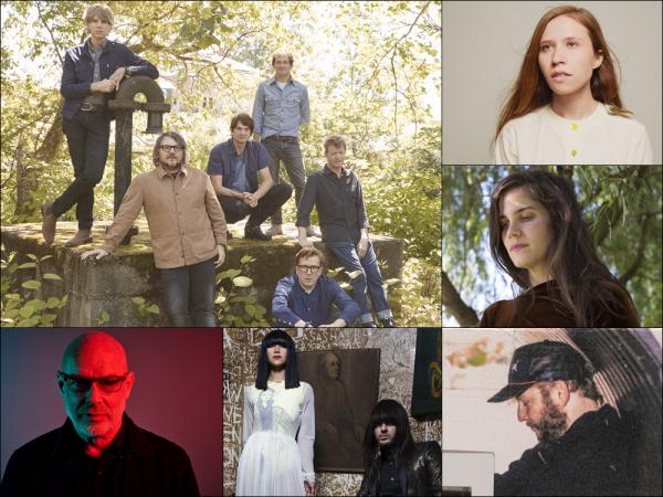 Clockwise from upper left: Wilco, Pearla, Erin Durant, Bon Iver, Khruangbin, Brian Eno