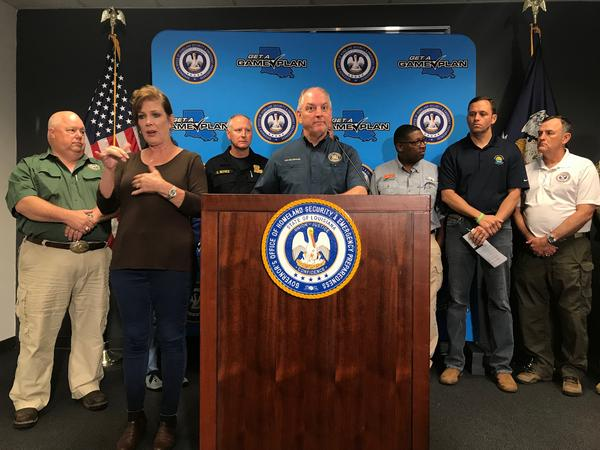 Governor John Bel Edwards held a press conference Saturday, July 13, 2019, offering updates on Tropical Storm Barry.