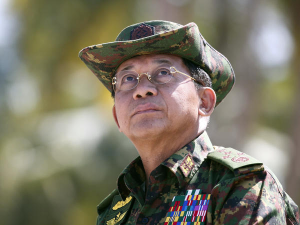 The senior Myanmar military leaders sanctioned by the U.S. include the commander in chief, Min Aung Hlaing, shown here as he delivered a speech last year.