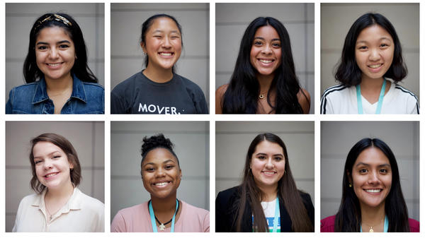 Activists from Girl Up. Top row from left: Valeria Colunga, Eugenie Park, Angelica Almonte, Emily Lin. Bottom row from left: Lauren Woodhouse, Winter Ashley, Zulia Martinez, Paola Moreno-Roman.