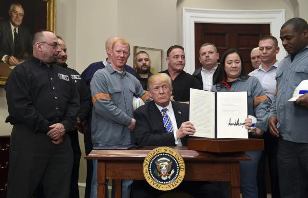 President Trump announced increased tariffs on imported steel and aluminium in 2018.