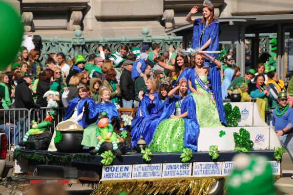 A crowd watches a float in the St. Patrick's Day parade in Cleveland in 2010.