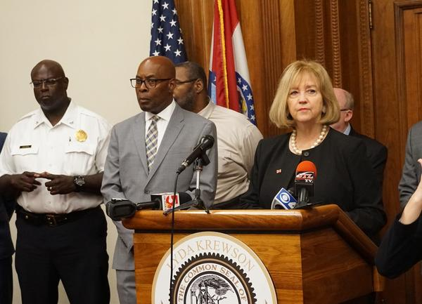 Mayor Lyda Krewson touts the city's Criminal Justice Coordinating Council on Wednesday with Public Safety Director Jimmie Edwards and Police Chief John Hayden. Hayden will be a member of the council.