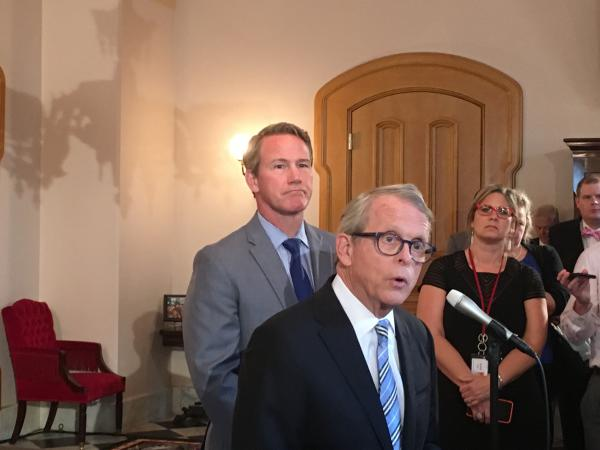 Gov. Mike DeWine explains vetoes to reporters