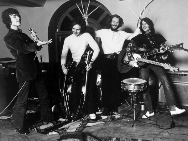 "Rock band ""Blind Faith"" pose for a portrait in 1969. (L-R): Steve Winwood, Ric Grech, Ginger Baker, Eric Clapton."