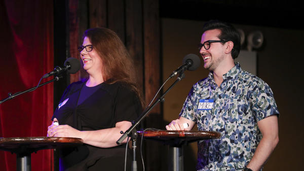 Contestants Alysa O'Shea and Mike Racioppa appear on <em>Ask Me Another</em> at the Bell House in Brooklyn, New York.