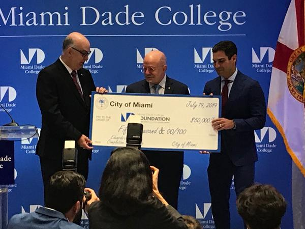 The city of Miami and Miami Dade College introduced a new scholarship on Friday named after the school's president, Eduardo Padrón.