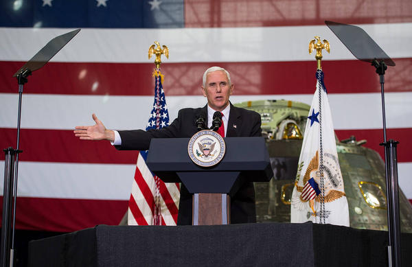 Vice President Mike Pence, seen here in Florida in 2017, is speaking at Kennedy Space Center today in Florida to celebrate the 50th anniversary of humans walking on the moon.