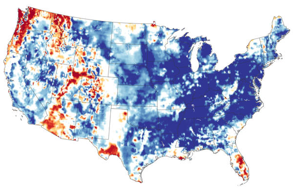 More precipitation fell in the continental U.S. in the 12 months ending in May 2019 than ever recorded. Records go back more than 120 years. Blue areas had more groundwater than usual for May. Orange and red areas had less.