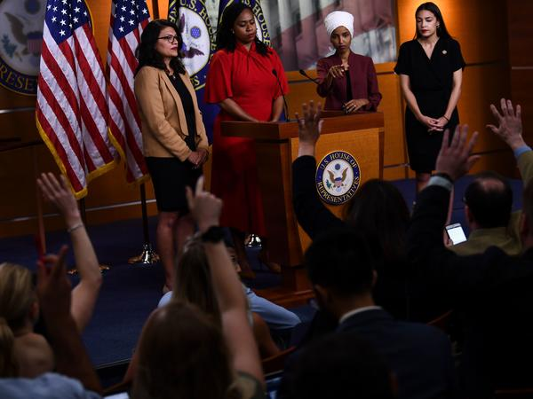 US Representatives Rashida Tlaib (D-MI), Ayanna Pressley (D-MA), Ilhan Omar (D-MN) and Alexandria Ocasio-Cortez (D-NY) hold a press conference at the US Capitol in Washington, DC on July 15, 2019 to address remarks made by President Donald Trump.
