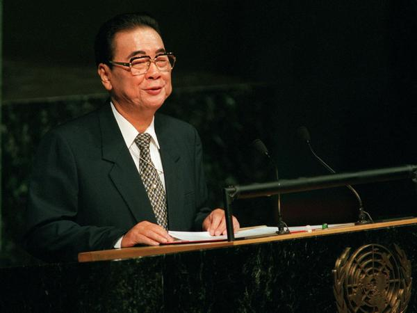 Former Chinese Premier Li Peng, shown here at the United Nations in 2000, has died at 90.