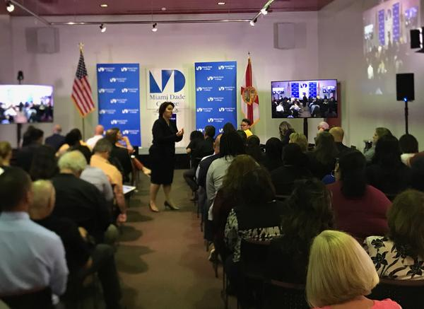 Two finalists to be Miami Dade College's next president gave presentations on Monday to staff and professors.