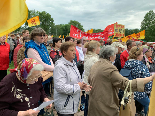 Residents of Pereslavl-Zalessky gathered for a protest against planned garbage dumps earlier this month. As Russian President Vladimir Putin approaches his 20th year in power, anger over bread-and-butter issues is sparking protests.