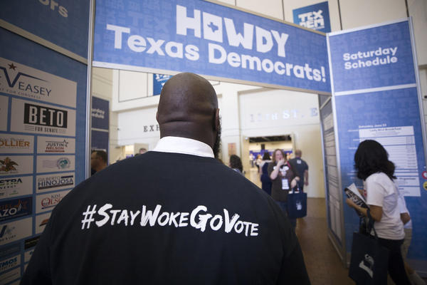 Attendees enter the main area of the Texas Democratic Convention in Fort Worth last year.