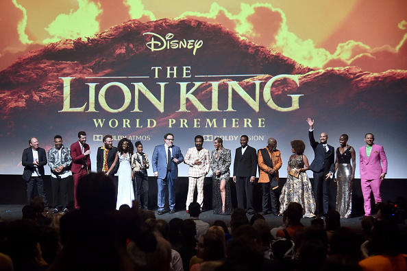 "(L-R) Hans Zimmer, Chance The Rapper, Billy Eichner, Seth Rogen, Shahadi Wright Joseph, JD McCrary, Director/Producer Jon Favreau, Donald Glover, Beyonce Knowles-Carter, Chiwetel Ejiofor, John Kani, Alfre Woodard, Keegan-Michael Key, Florence Kasumba and Eric Andre attend the World Premiere of Disney's ""THE LION KING"" at the Dolby Theatre on July 09, 2019 in Hollywood, California."