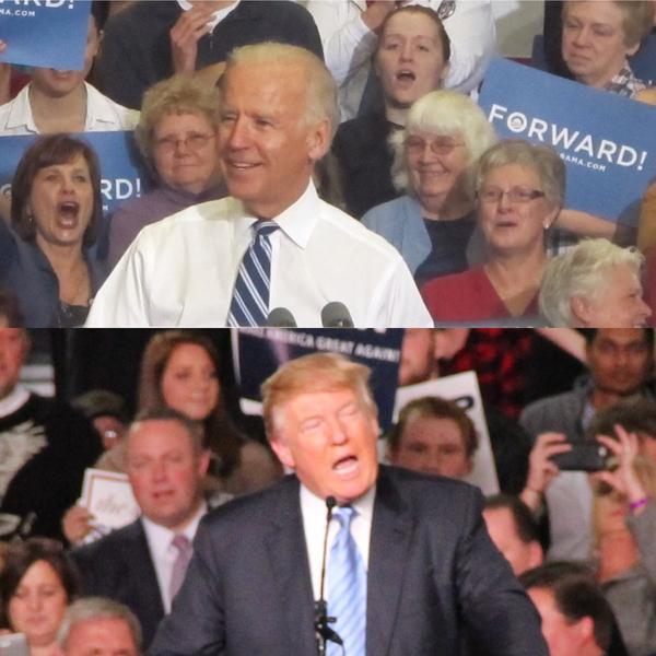 Top: Democrat Joe Biden, Bottom: Republican Donald Trump