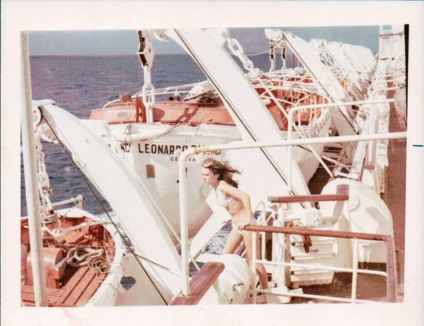 Paulette Cooper looks out to the ocean in 1969 while on board the Leonardo Da Vinci cruise ship.