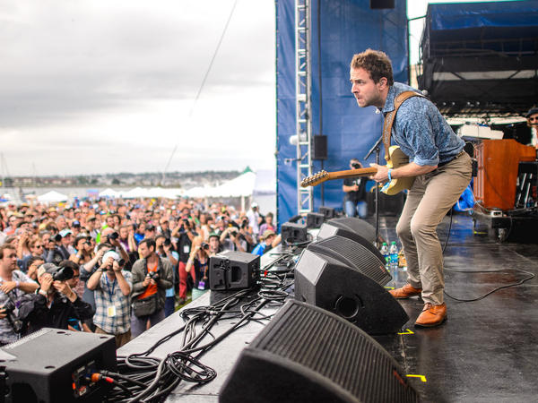 Taylor Goldsmith of the band Dawes performs at the 2014 Newport Folk Festival. Dawes is back for the 2019 festival broadcast.