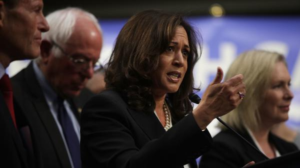 "Sen. Kamala Harris, D-Calif., co-sponsored Vermont Sen. Bernie Sanders' ""Medicare for All"" bill, along with several other 2020 candidates, when it was released in 2017. Her plan has some key differences from Sanders', including a larger role for private insurance and a higher threshold for taxing household income."