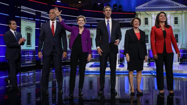(From left) Former Housing Secretary Julián Castro, New Jersey Sen. Cory Booker, Massachusetts Sen. Elizabeth Warren, former Texas Rep. Beto O'Rourke, Minnesota Sen. Amy Klobuchar and Hawaii Rep. Tulsi Gabbard. Warren, Booker and O'Rourke have already qualified for the Democratic debate in September.