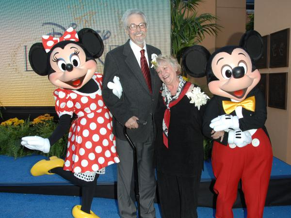 Russi Taylor and her husband, Wayne Allwine, pose with their characters, Minnie and Mickey Mouse, at the 2008 Disney Legends Ceremony at the Walt Disney Studios in Burbank, California.