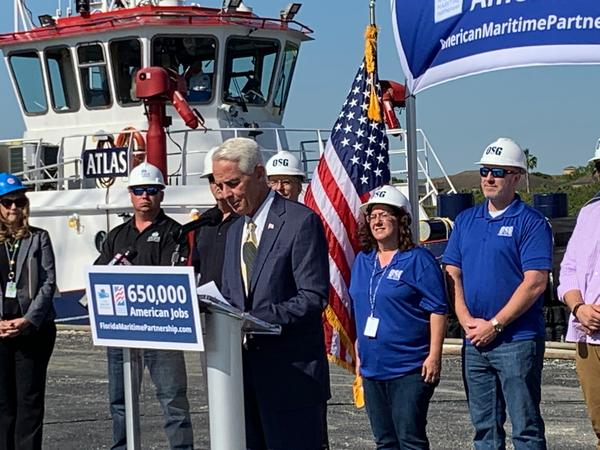 Rep. Charlie Crist (D-St. Petersburg) speaking at an event at the Port of Tampa in March.