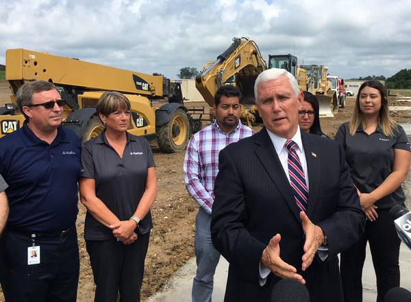 Vice President Mike Pence at a groundbreaking of a manufacturing plant in Lancaster on July 30, 2019.