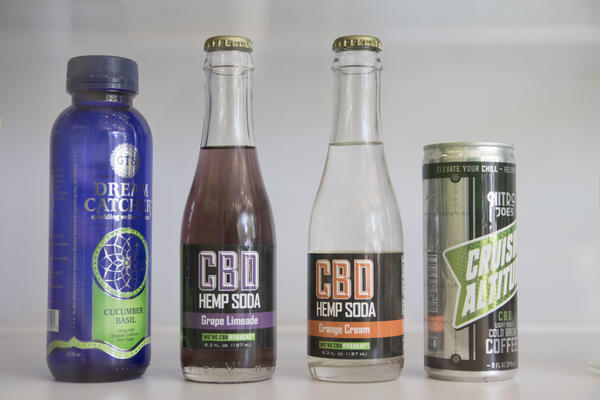 CBD drinks on display at CBD of Lawrence. Kansas legalized the cannabis extract last year.