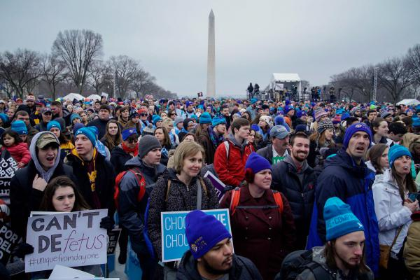 People gather on the National Mall in Washington, D.C. for the annual anti-abortion rights March For Life.