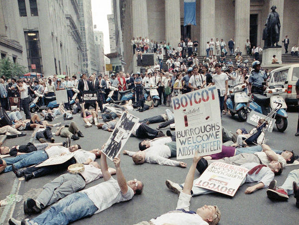 AIDS activist group ACT UP organized numerous protests on Wall Street in the 1980s. The group's tactics helped speed the process of finding an effective treatment for AIDS.