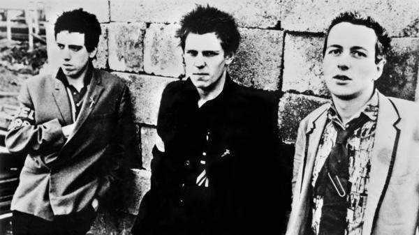 The Clash's Joe Strummer (R), Mick Jones (C) and Paul Simonon.