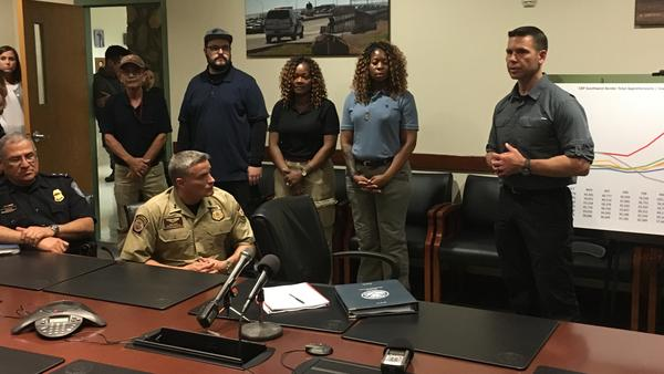 Kevin McAleenan (right), the Department of Homeland Security acting secretary, introduced four volunteers from DHS agencies who came to the El Paso area in recent weeks to help care for and process migrants. McAleenan was in El Paso on Thursday for briefings on current border conditions.