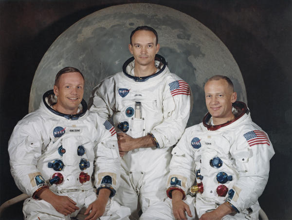 "Michael Collins, center, poses with Neil Armstrong, left, and Edwin ""Buzz"" Aldrin Jr. for a group portrait a few weeks before they took off to the moon in the Apollo 11 mission in 1969."