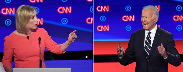 Sen. Kirsten Gillibrand of New York questioned former Vice President Joe Biden about his past comments concerning the child care tax credit during the second night of the Democratic primary debates in Detroit.