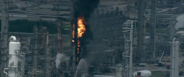 Screenshot of KHOU's livestream of the fire at Exxon Mobil's Baytown refinery.