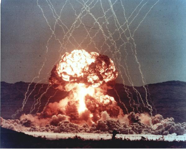 A nuclear test during Operation Teapot, which took place in 1955 at the Nevada Test Site.