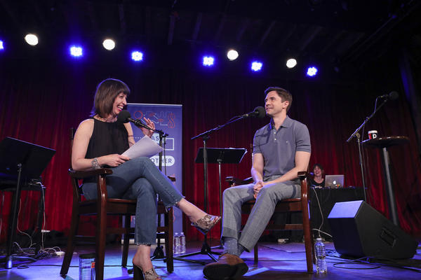 Ophira Eisenberg interviews Topher Grace on <em>Ask Me Another</em> at the Bell House in Brooklyn, New York.