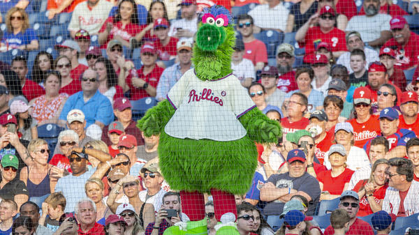 The Phillie Phanatic during a baseball game against between the Philadelphia Phillies and the Colorado Rockies in May in Philadelphia.