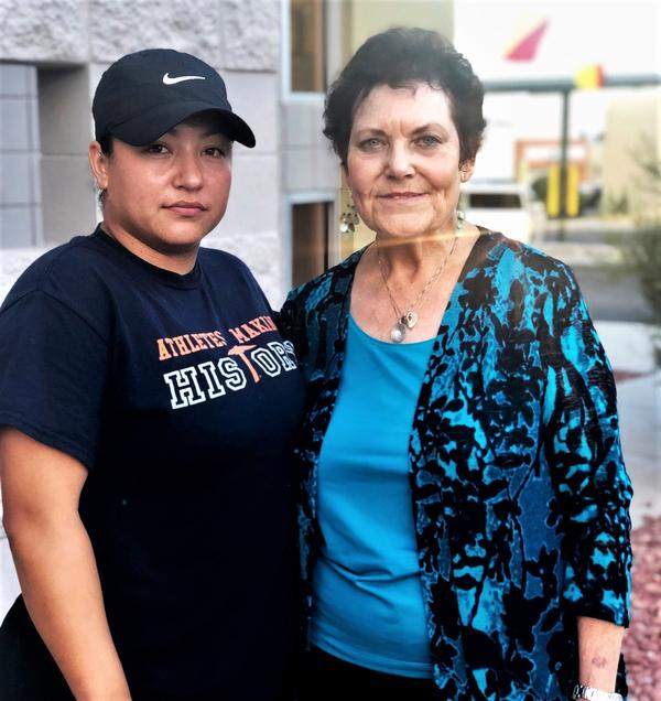 Stephanie Sazo, 26, and Sandy Heath, 75, stand outside Vitalant, one of the blood donation centers in El Paso.