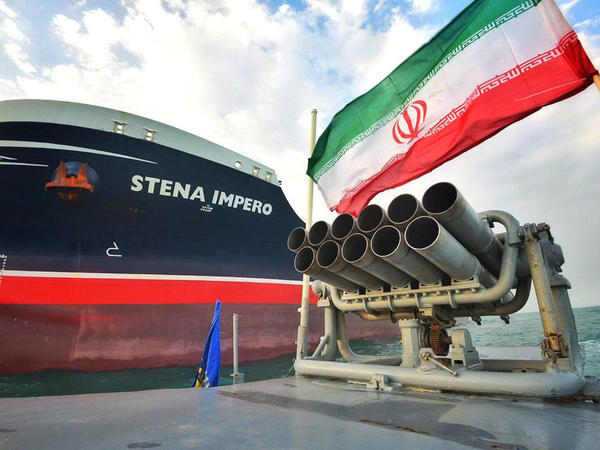 A photo from Iran's semiofficial Tasnim news agency shows the U.K.-flagged Stena Impero, which was seized on July 19. Iran said Sunday that it had seized yet another vessel, an Iraqi oil tanker.