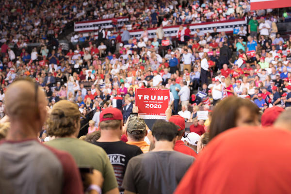 Trump supporters gather at the president's rally in Cincinnati, Ohio, on Thursday. (Rachael Banks for Here & Now)