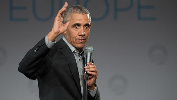 "Former President Barack Obama <a href=""https://twitter.com/BarackObama/status/1158453079035002881"">tweeted</a> Monday that Americans should reject language of ""fear and hatred"" from U.S. leaders. Above, he is pictured at a conference in Berlin in April."