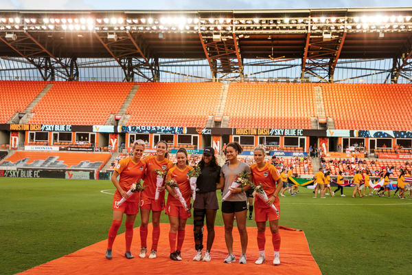 Before the Dash and Sky Blue FC match, a ceremony honors Dash members who played during the World Cup.