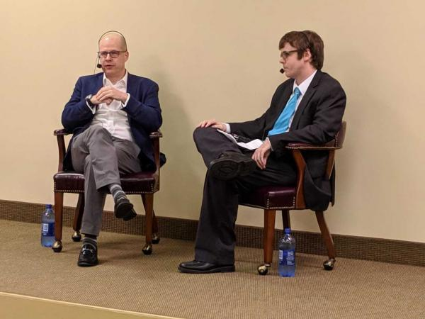 Foreign policy expert Max Boot, left, and WCBU's Tim Shelley, who moderated the session.