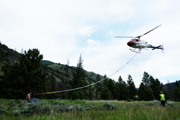 A Heli-Feller, a piece of equipment designed to cut and hold the tops off trees, allows helicopters to assist ground crews clearing the areas around power lines.