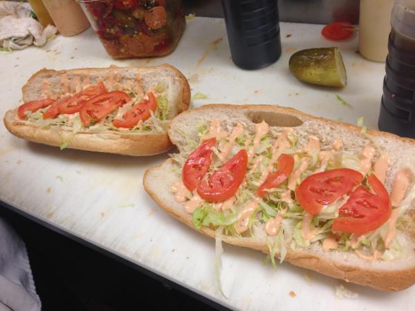 A sandwich being made at Frigo's, an Italian deli in Springfield, Massachusetts.