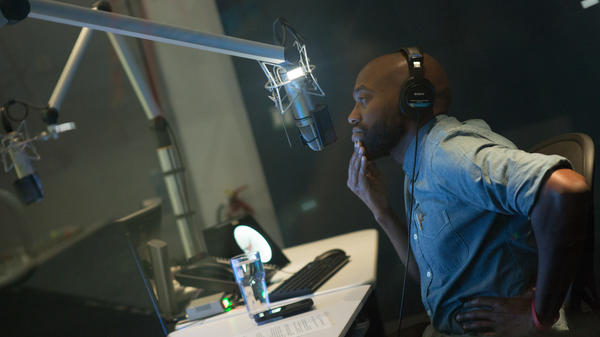 Sam Sanders, host of NPR's <em>It's Been A Minute</em>, records a segment at NPR West on September 24, 2018.
