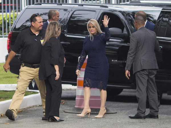 Justice Secretary Wanda Vázquez arrives at the Supreme Court, in San Juan, Puerto Rico, before she was sworn in as governor early Wednesday evening.